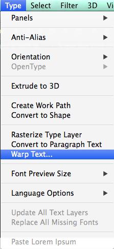 Warp Text option from Menu